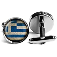 Greece Greek Ελλάδα Flag Griechenland Griechisch Flagge Rhodium Silber Manschettenknöpfe