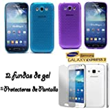 Funda Gel SILICONA de Color Azul claro y Morado + 2x protectores de pantalla transparentes para Samsung GALAXY EXPRESS 2 G3815