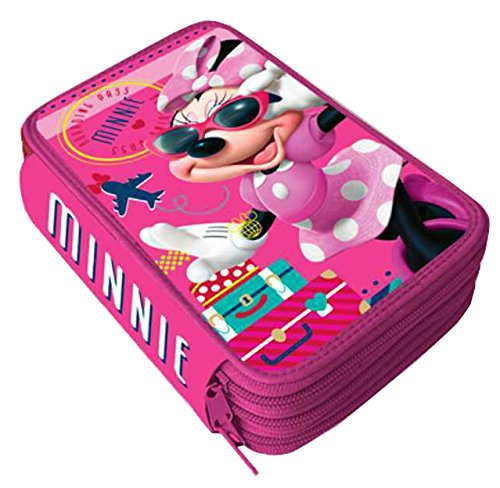 Estuche Escolar de 3 cremallera Original Disney Minnie Mouse – Minnie Mouse – Formado por 43 piezas