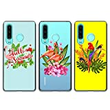 3x Coque pour Huawei P30 Lite, Etui Créatif Silicone TPU Mince Léger Souple Professionnel Nouveau Housse Protecteur - Flamant, Fleur, Perroquet Oiseau