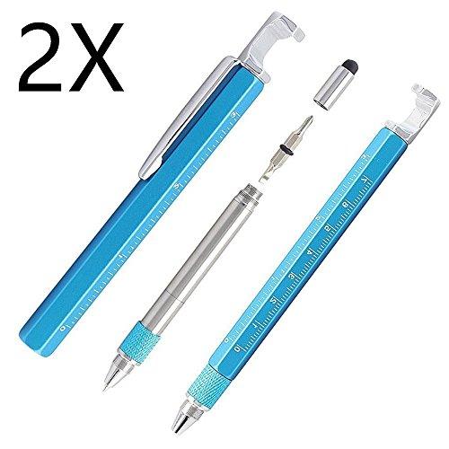 Shulaner 7 en 1 Tech Herramienta Bolígrafo con regla, abrebotellas, teléfono soporte, lápiz capacitivo y 2 Tornillo herramienta conductor, multifunción, Fit para hombre, regalo, 2 piezas azul