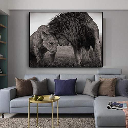 Cyalla Lions Head to Head Schwarz-Weiß Leinwand Kunst Malerei Poster Und Drucke Skandinavisches Bild Wandkunst Bild Für Wohnzimmer 60X80Cm (Und Halloween-nagel-kunst Weiß Schwarz)