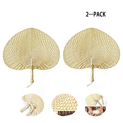 """ICDOT 2pcs 12""""ventiladores naturales de la rafia, ventiladores hechos a mano de la rafia de la hoja de palma entera, artesanía exquisita para casarse"""