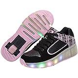 Teckey 2016 Sola Rueda Polea Zapatos Cordones Deporte zapatillas de Luminous Luz LED para hombre y mujer