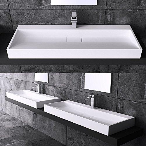 Preisvergleich Produktbild BTH: 120x46x11 cm Design Waschbecken Colossum19, aus Gussmarmor, Waschtisch, Waschplatz