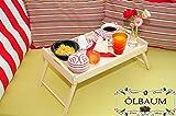 Betttablett - massiver und hochwertiger Beistelltisch aus Buchenholz, natur, Tablett mit zwei Tragegriffen, klappbar mit Maßen viereckig, 35 cm x 50 cm x 20 cm, nutzbar als Frühstückstisch oder Serviertisch, Picknick