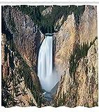 ABAKUHAUS Wyoming Tenda da Doccia, Gran Canyon di Yellowstone, Idrorepellente Resiliente Opaco, 175 x 180 cm, Scuro Marrone Sabbia Cacciatore Verde E Bianco