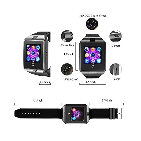 Reloj Inteligente, Smartwatch Bluetooth y Ranura para Tarjeta SIM con Rastreador de Actividad, Podómetro, Cronómetros Reloj de Fitness, Reloj Iinteligente Hombre Mujer niños Android/iOS Phone 6