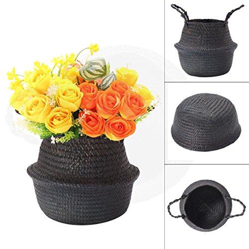 Woven Aufbewahrungskorb mit Griff Blumen Vase zum Aufhängen Korb Tasche Weidenkorb Schwarz 32x28cm -