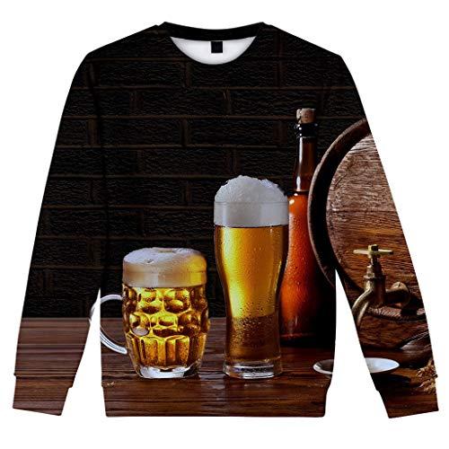 T.boys Herren 3D Druck Bier Print Sweatshirt Streetwear mit Sprüchen Männer Pullover Langarm Sweat Winter Casual Slim Fit -