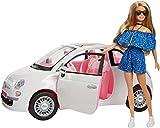 Barbie et sa Voiture Fiat 500 blanche, véhicule décapotable avec poupée incluse, jouet pour enfant, FVR07