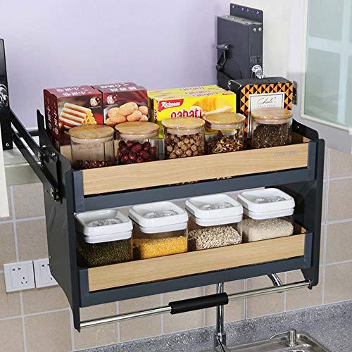 Küchenregal, das auf und ab gehoben Werden kann Kabinett Baskets lagern Mit dämpfung hydraulikdruck, Platz sparen Speicher mit großer Kapazität, Multifunktionales Küchenzubehör -