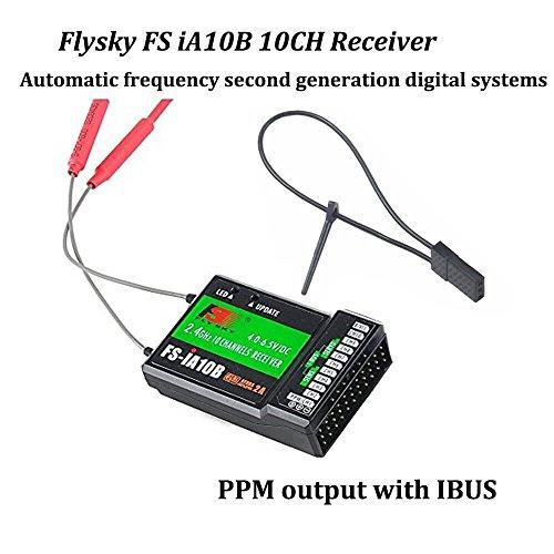 flysky empfaenger Flysky FS-iA10B Empfänger 10Kanal PPM Output mit iBus Port 2.4GHz RC Empfänger Receiver for i6 i6S i10 i6x Fernsteuerung Sender for FPV Racing RC Drone Quadcopter by LITEBEE