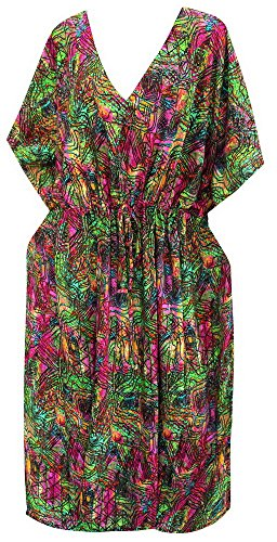 caftan abstrait coverup maxi robe robe de rayonne batwing dames top robe usure bikini lâche de maternité kimono longue tunique taille plus l-4x vert | nous: l -4x (16w à 34w) / fr-16 -36