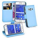Cadorabo Hülle kompatibel mit Samsung Galaxy ACE 4 LITE Hülle in Pastel BLAU Handyhülle mit Kartenfach und Standfunktion Schutzhülle Etui Tasche