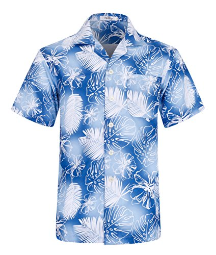 Herren Hawaii Hemd Kurzarm Flamingos Aloha Party Shirt Palm Beach Shirts Feather Print EHS003-3XL