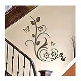 Exklusivpro Wandtattoo Blumenranke mit Schmetterlinge für Wohnzimmer Schlafzimmer Flur oder Diele (jap58 haselnussbraun) 100 x 48 cm mit Farb- u. Größenauswahl