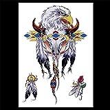 zgmtj Autoadesivo del Tatuaggio Braccio colorato Fiore Gufo Pieno Braccio HB-374 148 * 210MM