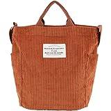 Ulisty Damen Cord Schultertasche Lässige Handtasche Mode Schultasche Umhängetasche Rotbraun