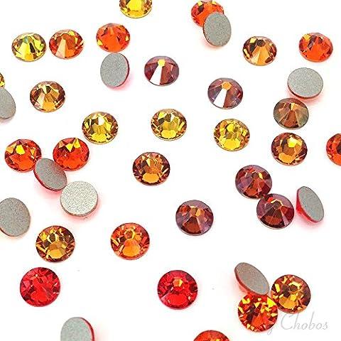144 Swarovski 2058 / 2088 crystal flat backs No-Hotfix rhinestones ORANGE & COPPER Colors Mix ss20 (4.7mm) **FREE Shipping from Mychobos (Crystal-Wholesale)**