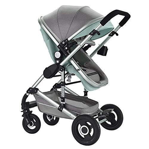 carrito de bebe Paisaje claro y alto Puede sentarse y acostarse Suspensión en las cuatro ruedas Plegable de dos vías Carrito de bebé Cochecito recién nacido, green