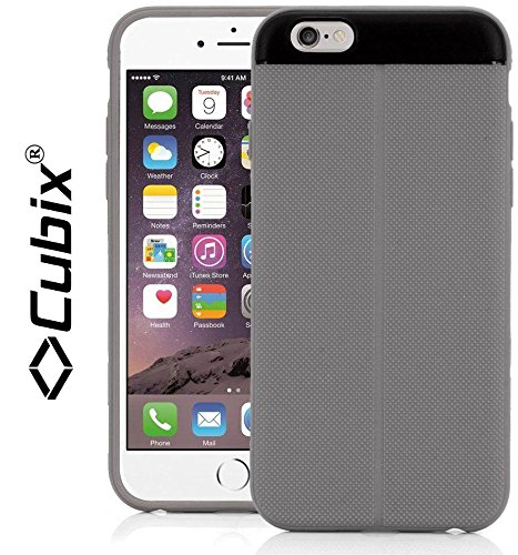 CUBIX Apple iPhone 6 Plus Case Cover T Line (Exact-Fit) Grip Flip TPU Jacket Back Case Cover For Apple iPhone 6 Plus (Grey)  available at amazon for Rs.349