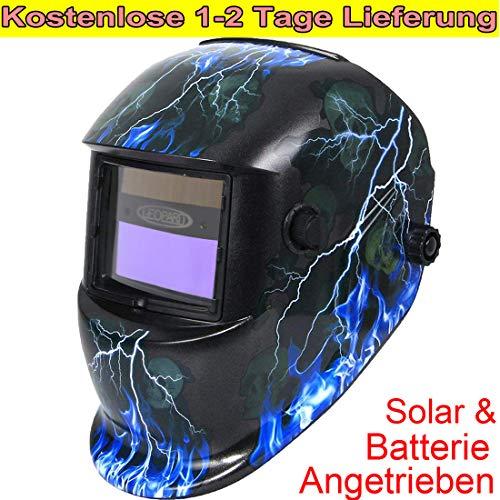 Leopard {Blitz} Solar Schweißhelm Automatik + Austauschbare Batterie, Großes Sichtfeld DIN9-13, Automatisches Abdunkeln, Schweißhelm Automatisch für MMA,MAG,MIG, TIG,Saw,PAW,PAC, RSW
