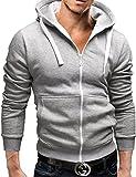 MERISH Sweat capuché zippé, veste chaude Bicolore moderne SlimFit Gilet parfait pour les loisirs et sports Modell 224 Gris/Blanc M