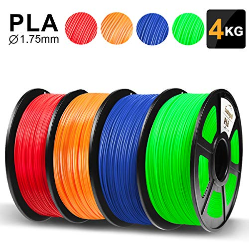 PLA 3D Printer Filament,3D Printing PLA Filament 1.75mm 1KG*4 Spools Red+Orange+Blue+Green(8.8LBS),Enotepad PLA Filament Compatible For Most FDM 3D Printer Dimensional Accuracy ±0.02mm Tolerance