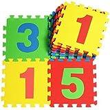 V-SOL Alfombra Tipo Puzzle De Juego Para Niños Bebé Diseño Números - 30*30*1cm / 10pcs