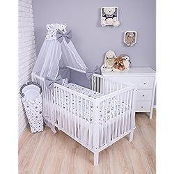 Amilian® Baby Bettwäsche 7tlg Bettset mit Nestchen Kinderbettwäsche Himmel 100x135cm Gute Nacht Grau (Chiffonhimmel)