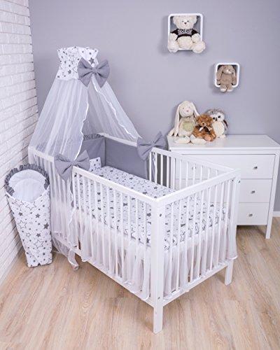 Amilian Baby Bettwäsche 7tlg Bettset mit Nestchen Kinderbettwäsche Himmel 100x135cm Gute Nacht...