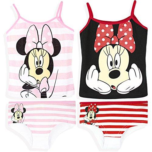 Disney Minnie Mouse Licensed 2-Pack Of Girls Underwear Sets 2 X Vest + 2 X Shorts