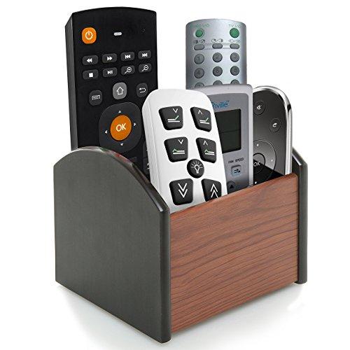 MyGift Revolving Wooden 4 Compartment Desktop Office Supplies Storage Organizer / Spinning Remote Control Caddy