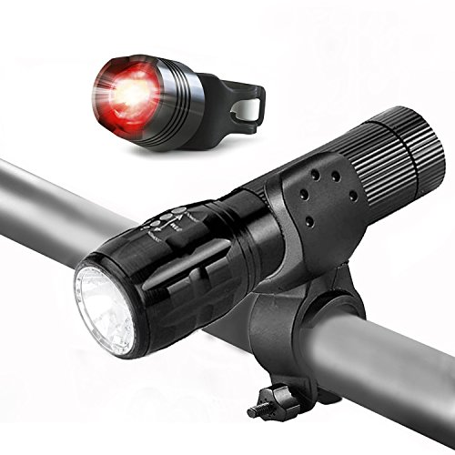 LED Fahrradbeleuchtung, 4 Licht-Modi Wasserdicht LED Fahrradlampe Fahrradlicht Sport Frontlicht und Rücklicht für Berg-Radfahren,Radfahren Camping Outdoor Sport Jagen wandern, Schwarz