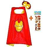 Iron Man Capa y máscara para niños superhéroe - Superhéroes niños niñas niños Fancy disfraz de fiesta hasta Capes para 2 A 11 Años - satinado doble capa - King Mungo - kmsc026
