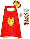 Iron Man mantello e maschera per bambini supereroe - ragazze dei supereroi, travestimento bambini Capes per travestimento da 2 a 11 anni - raso doppio strato - King Mungo - KMSC026