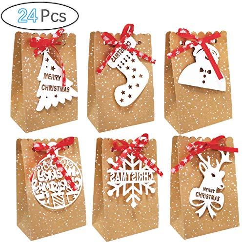 U&x scatole regalo di natale da 24 pezzi, sacchetti per bomboniere natalizie scatole di carta per caramelle per decorazioni per feste di natale (6 stili)