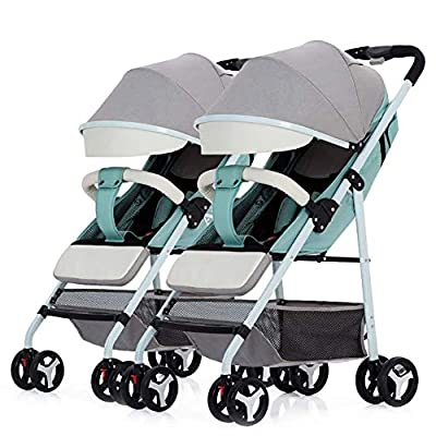 GRHLYYR Cochecito de bebé gemelo Respaldo ajustable Desmontable Verano Ultraligero Portátil Plegable Cochecito de niño Cochecitos dobles for bebé