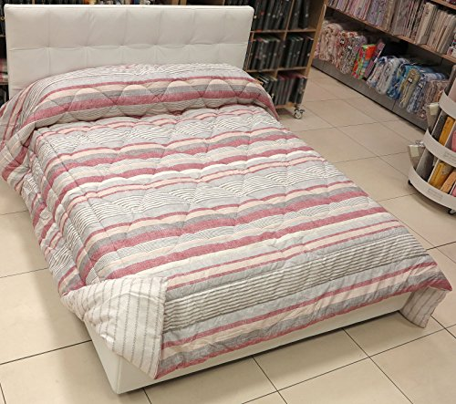 Steppdecke INFINITY rot Double Face Single cm. 170x 260–ZUCCHI Stoff cotone-imbottitura Polyester GR.320m²