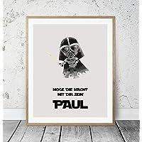 Kinderposter Namensbild Star Wars Darth Vader - Geburtsdruck mit Wunschname für Jungen, Geschenkidee zur Geburt, Taufe, Geburtstag; Kinderzimmer Wandbild personalisiert - ungerahmt