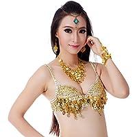 Dance Fairy Pancia sexy di ballo reggiseno Top rilievo paillettes Fringe Bra Top Dancewear Rave Bra 34B / 75B (Oro