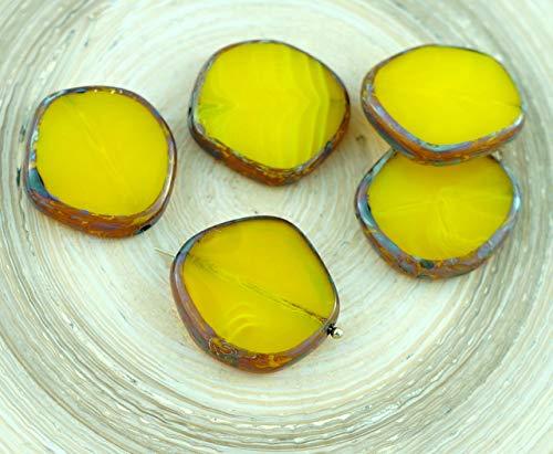 2pcs Picasso Bernstein-Opal Light Yellow Brown Flache Runde 8Edge Fenster, Tisch-Cut-Münze Tschechische Glasperlen 22mm