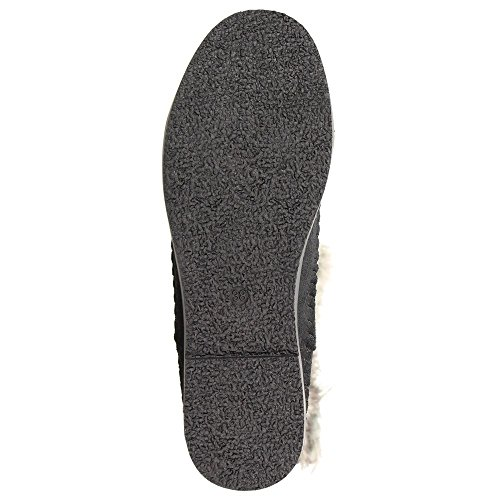 Claudia Ghizzani Damen Schuhe Mokassin-Stiefel mit Nieten und Fellbesatz schwarz Schwarz