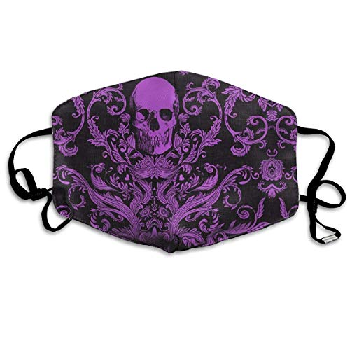 Dread Damask Livid Purple Fashion Reusable Cotton Face Dust Mouth Mask,Washable Outdoor Sports Face Masks with PM2.5 Carbon Filter Masks for Pollen,Flying,Allergies,Smoke, -