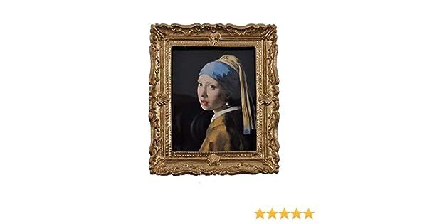 Melody Jane Casa delle Bambole Girl in Perla Orecchino Ritratto Immagine in Cornice Dorata 1:12