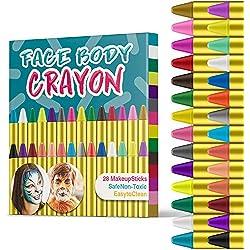 JamBer 28 Color Crayones Pintura Facial, Face Pastelli Matite da Trucco sicure e atossiche per Bambini, Perfetto per Carnevale, Pasqua, Natale
