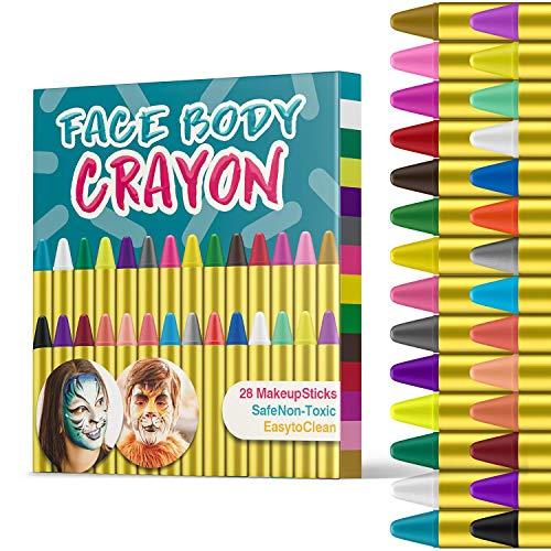 JamBer 28 Colori Face Paint, Face pastelli matite da Trucco sicure e atossiche per Bambini, Perfetto per Carnevale, Pasqua, Natale