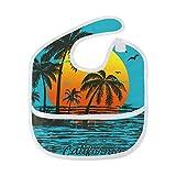 California Coconut Tree Sunset Waterproof Baby Bibs Washable Stain Odor Resistant Saliva Towel
