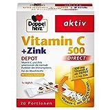 Doppelherz Vitamin C 500 DIRECT Micro Pellets mit DEPOT-Effekt – Nahrungsergänzungsmittel mit Vitamin C und Zink zur Unterstützung des Immunsystems und des Zellschutzes – 1 x 20 Portionen